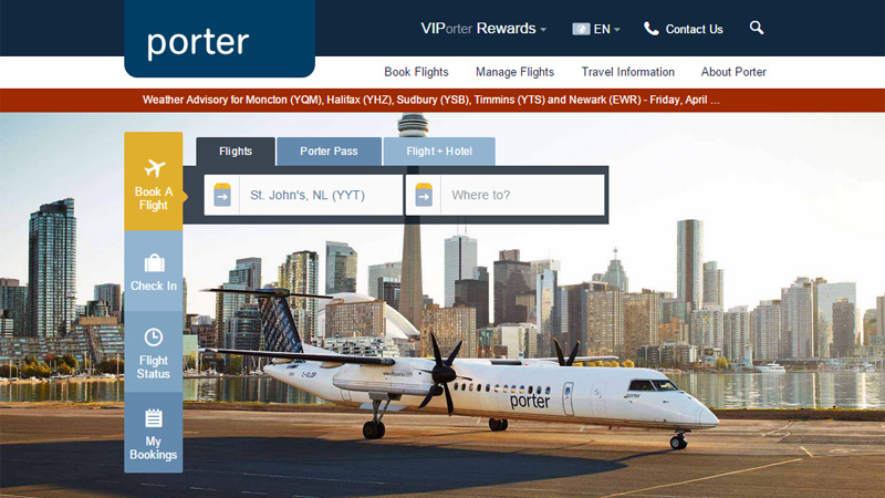 Airline website design the best examples - Porter airlines book flights ...