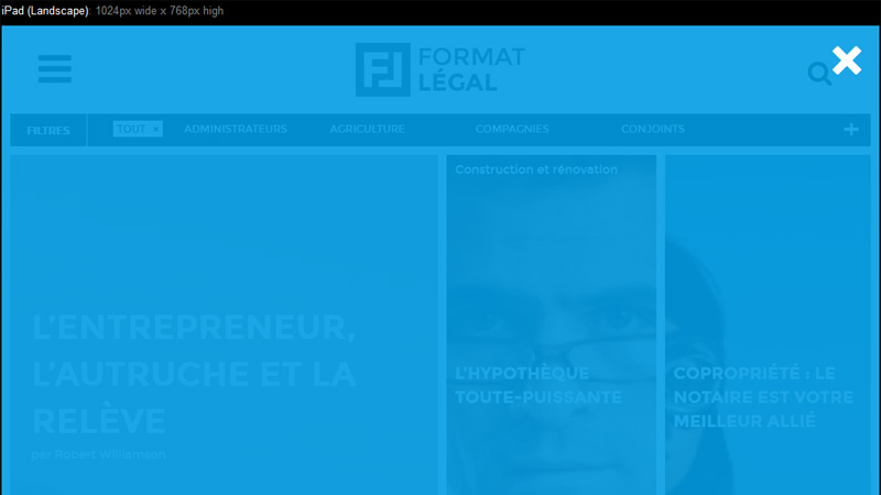 Format Legal iPad Website Design
