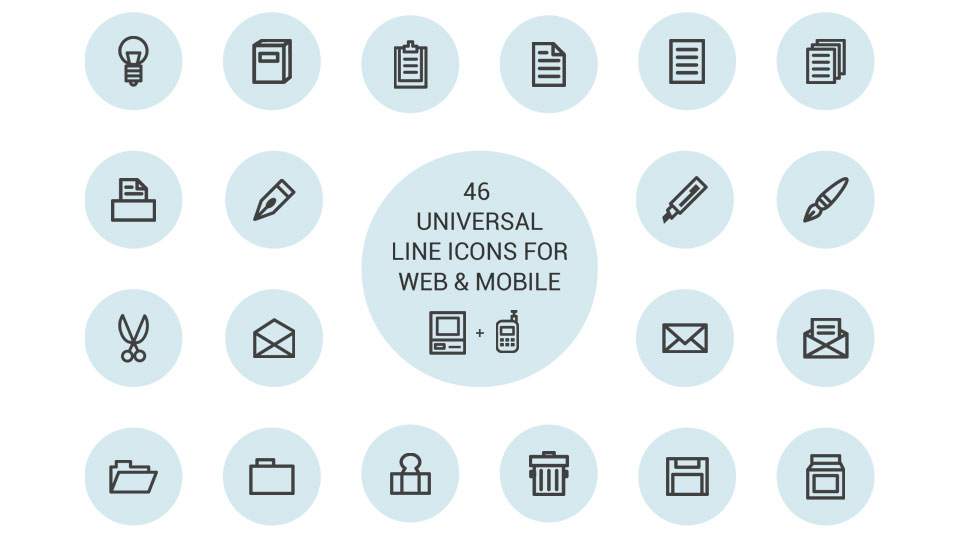 Freebie: Universal Line Icon Set For Web And Mobile (46 Icons)