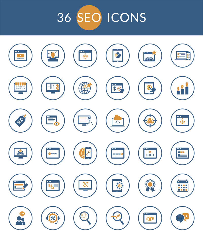 Freebie: Beautiful SEO Icon Set in PSD, SVG and More (36 Icons)