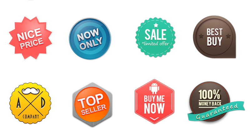 16 PSD Web Badges Set