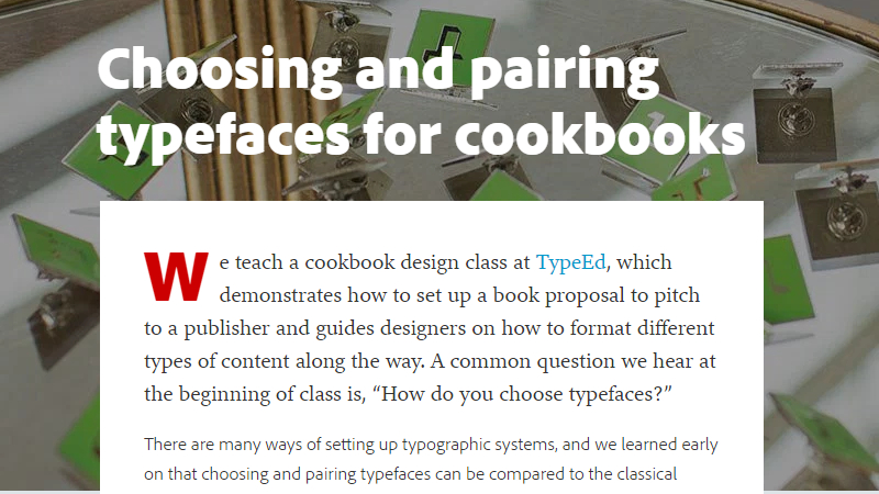 Choosing and Pairing Typefaces for Cookbooks