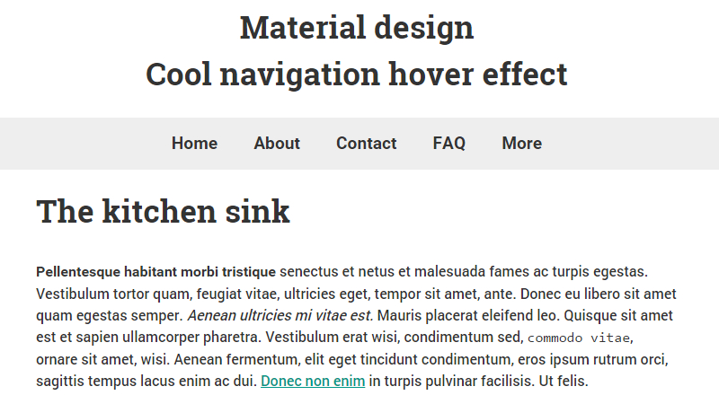 Cool Material Design Navigation Hover Effect
