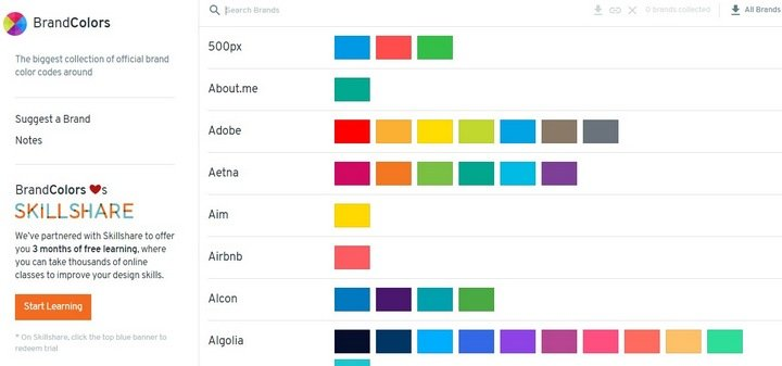BrandColors website features color palettes of all the famous websites,  such as Airbnb, ...
