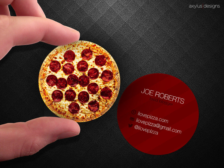 circular pizza business card