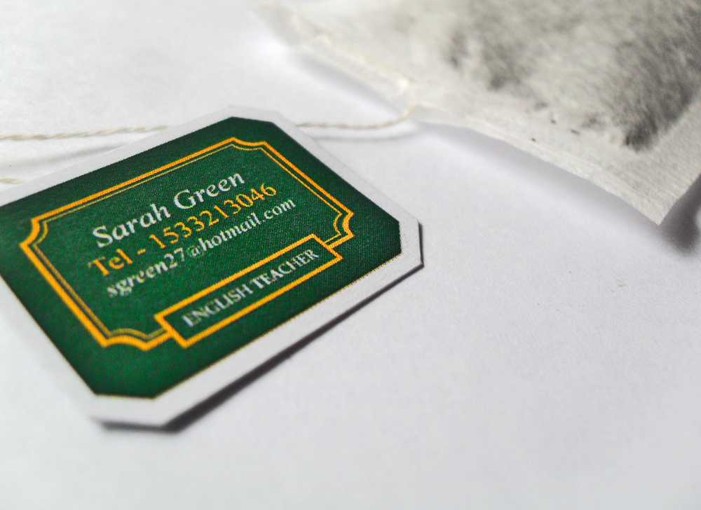 tea bag business card
