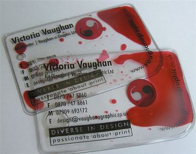 transparent liquid business card