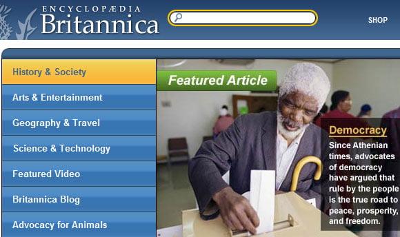 Britannica Core Navigation