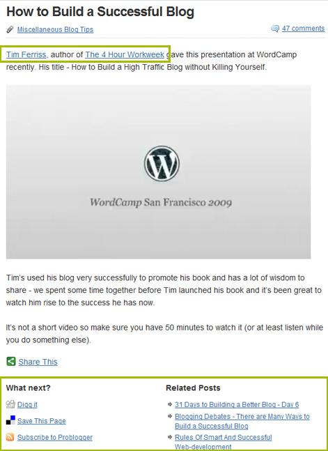 ProBlogger Embedded Links