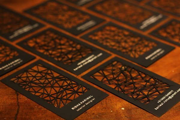 30 business card design ideas that will get everyone talking laser cut geometric business card laser cut geometric business card reheart Image collections