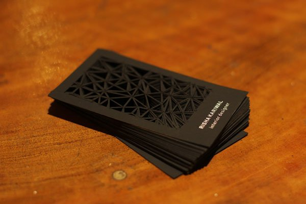 30 business card design ideas that will get everyone talking laser cut geometric business card reheart Gallery
